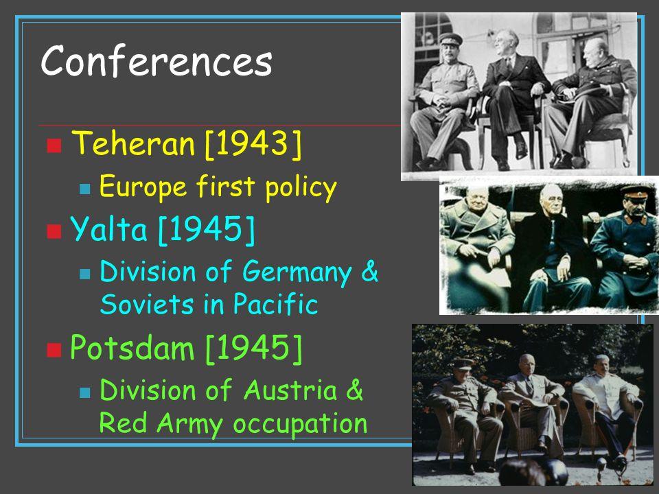 Conferences Teheran [1943] Yalta [1945] Potsdam [1945]
